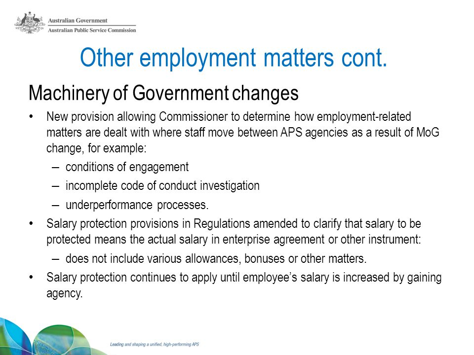 Other employment matters cont.