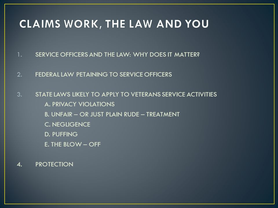 1.SERVICE OFFICERS AND THE LAW: WHY DOES IT MATTER? 2.FEDERAL LAW PETAINING TO SERVICE OFFICERS 3.STATE LAWS LIKELY TO APPLY TO VETERANS SERVICE ACTIV
