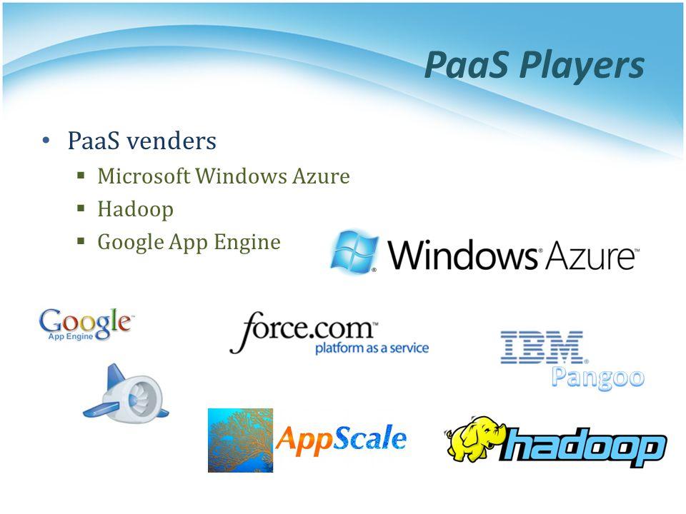 PaaS Players PaaS venders Microsoft Windows Azure Hadoop Google App Engine