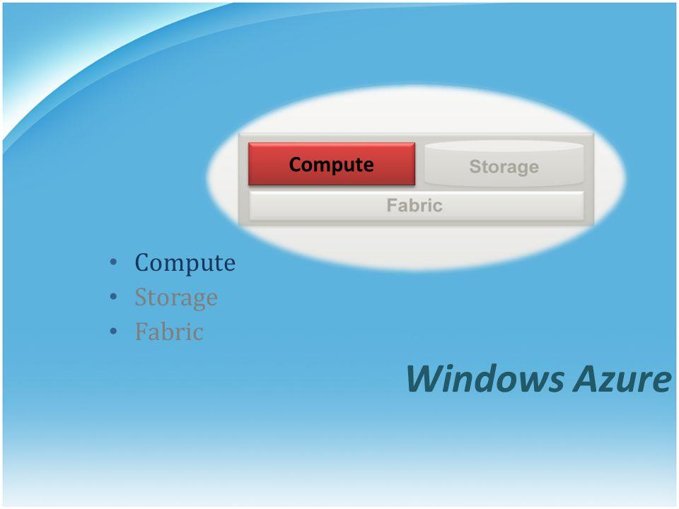 Windows Azure Compute Storage Fabric Compute