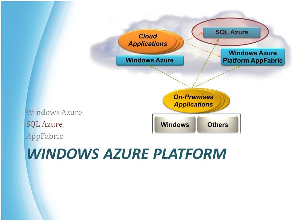WINDOWS AZURE PLATFORM Windows Azure SQL Azure AppFabric