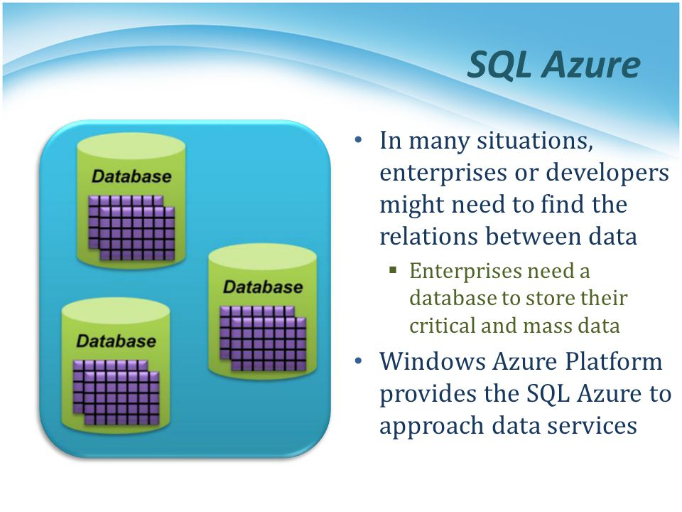 SQL Azure In many situations, enterprises or developers might need to find the relations between data Enterprises need a database to store their criti