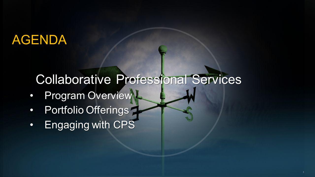 3 AGENDA Collaborative Professional Services Program OverviewProgram Overview Portfolio OfferingsPortfolio Offerings Engaging with CPSEngaging with CPS