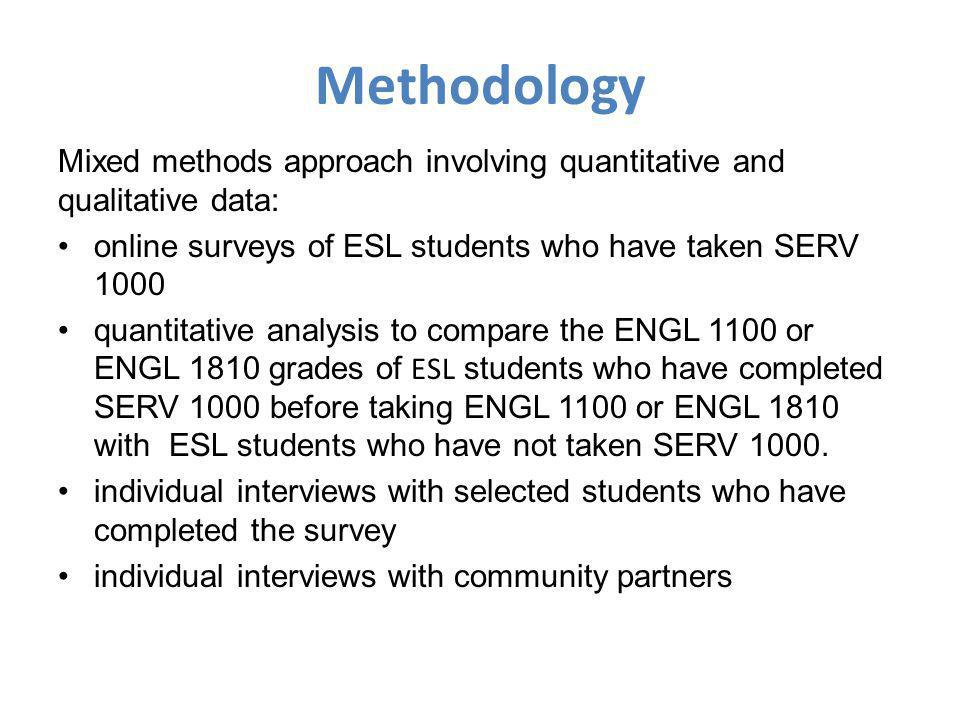 Methodology Mixed methods approach involving quantitative and qualitative data: online surveys of ESL students who have taken SERV 1000 quantitative analysis to compare the ENGL 1100 or ENGL 1810 grades of ESL students who have completed SERV 1000 before taking ENGL 1100 or ENGL 1810 with ESL students who have not taken SERV 1000.