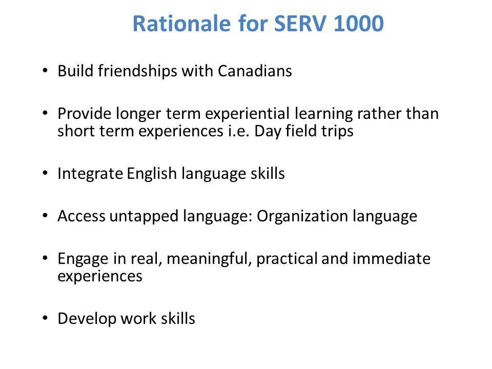 Rationale for SERV 1000 contd...