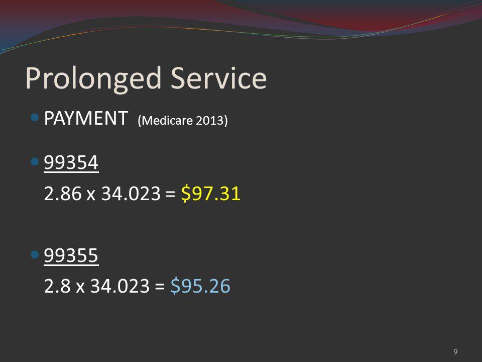 Prolonged Service PAYMENT (Medicare 2013) 99354 2.86 x 34.023 = $97.31 99355 2.8 x 34.023 = $95.26 9