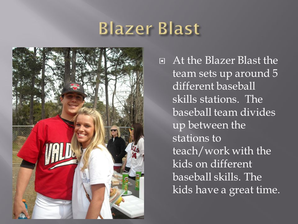 At the Blazer Blast the team sets up around 5 different baseball skills stations.