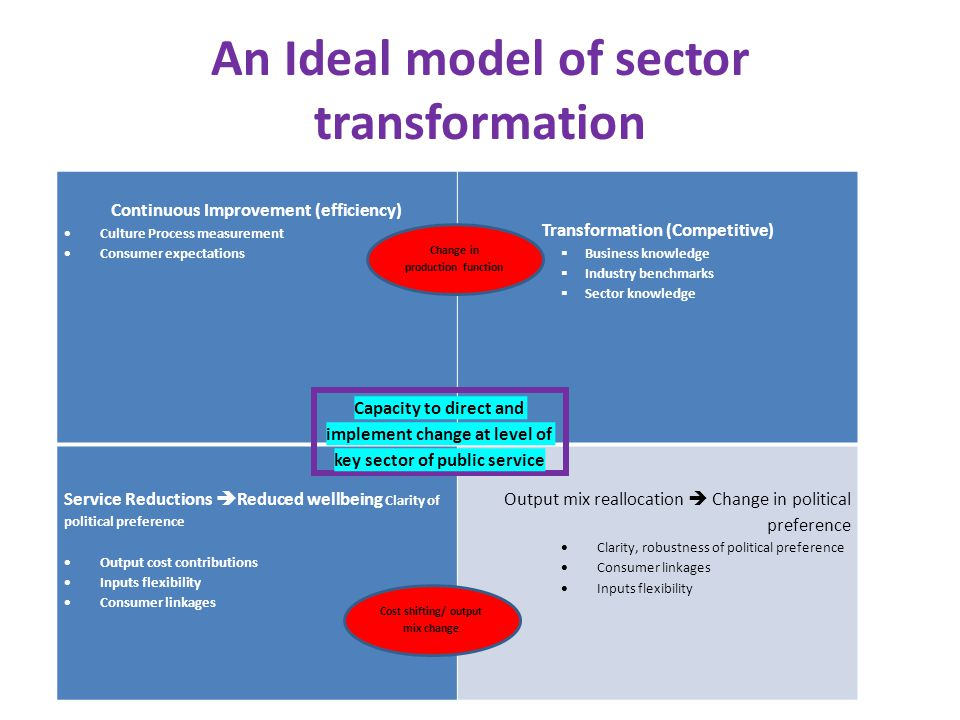 An Ideal model of sector transformation Continuous Improvement (efficiency) Culture Process measurement Consumer expectations Transformation (Competit