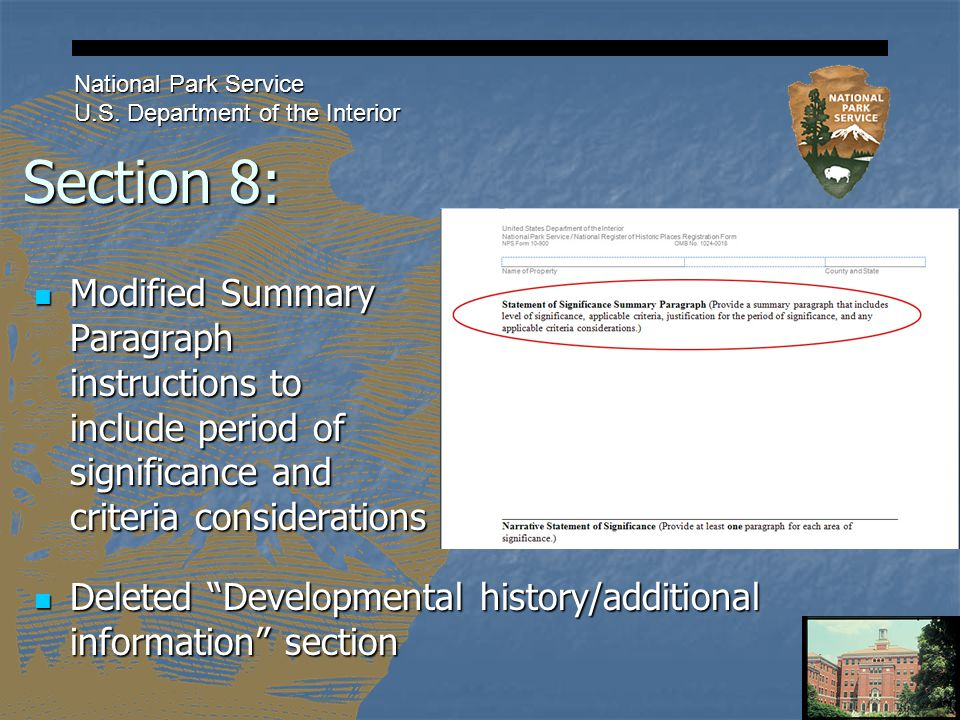 Section 8: National Park Service U.S.