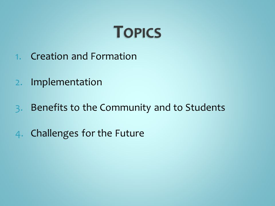 1.Creation and Formation 2.Implementation 3.Benefits to the Community and to Students 4.Challenges for the Future