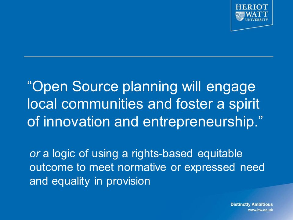 Open Source planning will engage local communities and foster a spirit of innovation and entrepreneurship.