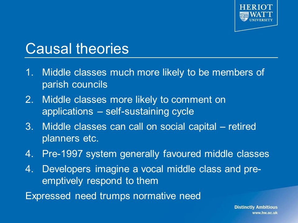 Causal theories 1.Middle classes much more likely to be members of parish councils 2.Middle classes more likely to comment on applications – self-sustaining cycle 3.Middle classes can call on social capital – retired planners etc.