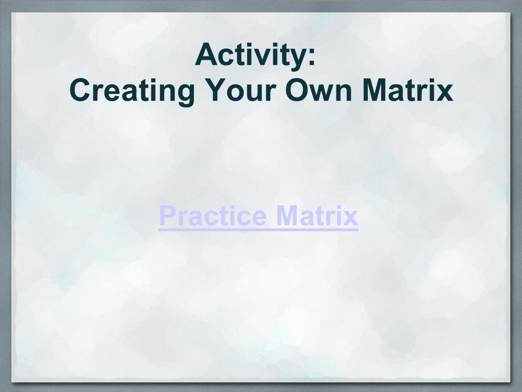 Activity: Creating Your Own Matrix Practice Matrix