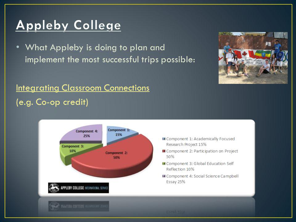 What Appleby is doing to plan and implement the most successful trips possible: Integrating Classroom Connections (e.g.