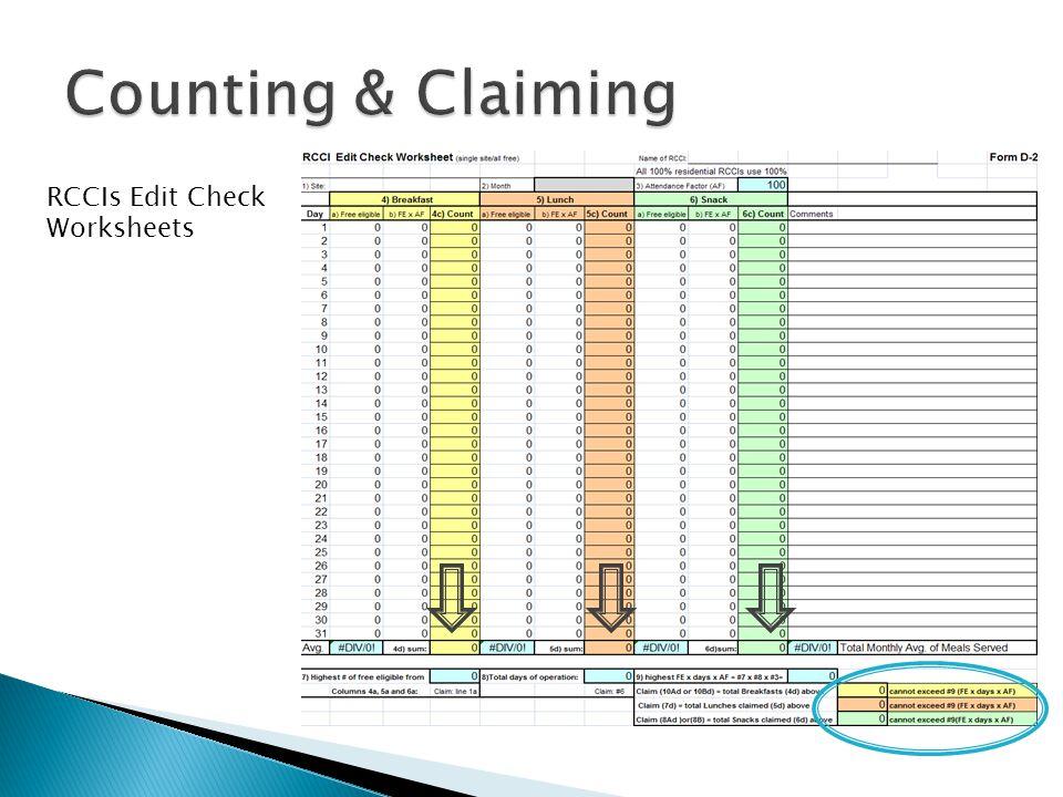 RCCIs Edit Check Worksheets