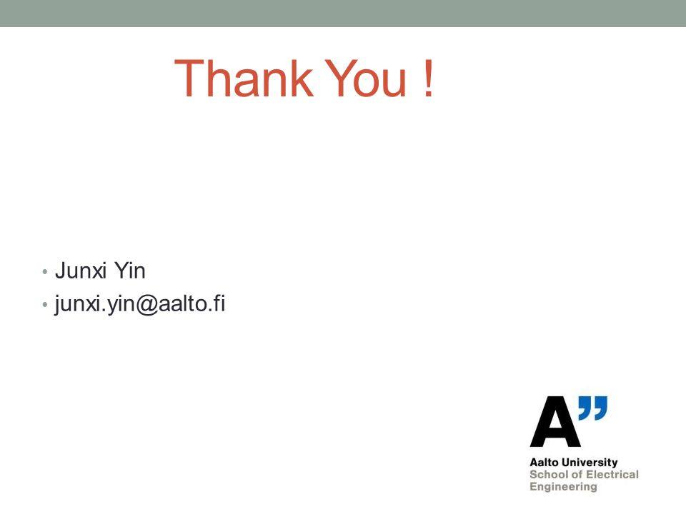 Thank You ! Junxi Yin junxi.yin@aalto.fi