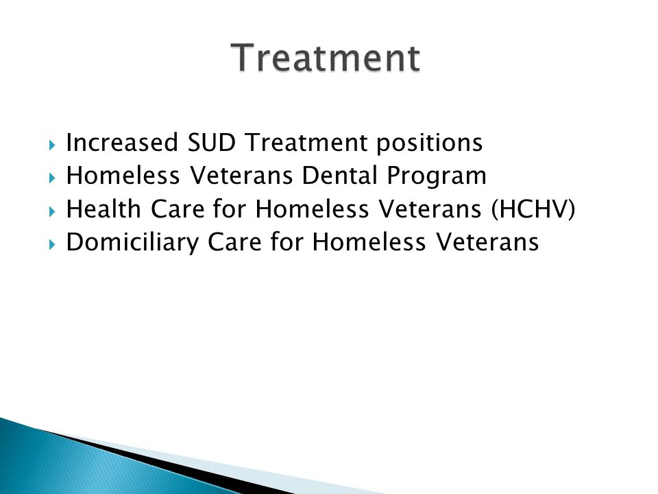 Increased SUD Treatment positions Homeless Veterans Dental Program Health Care for Homeless Veterans (HCHV) Domiciliary Care for Homeless Veterans