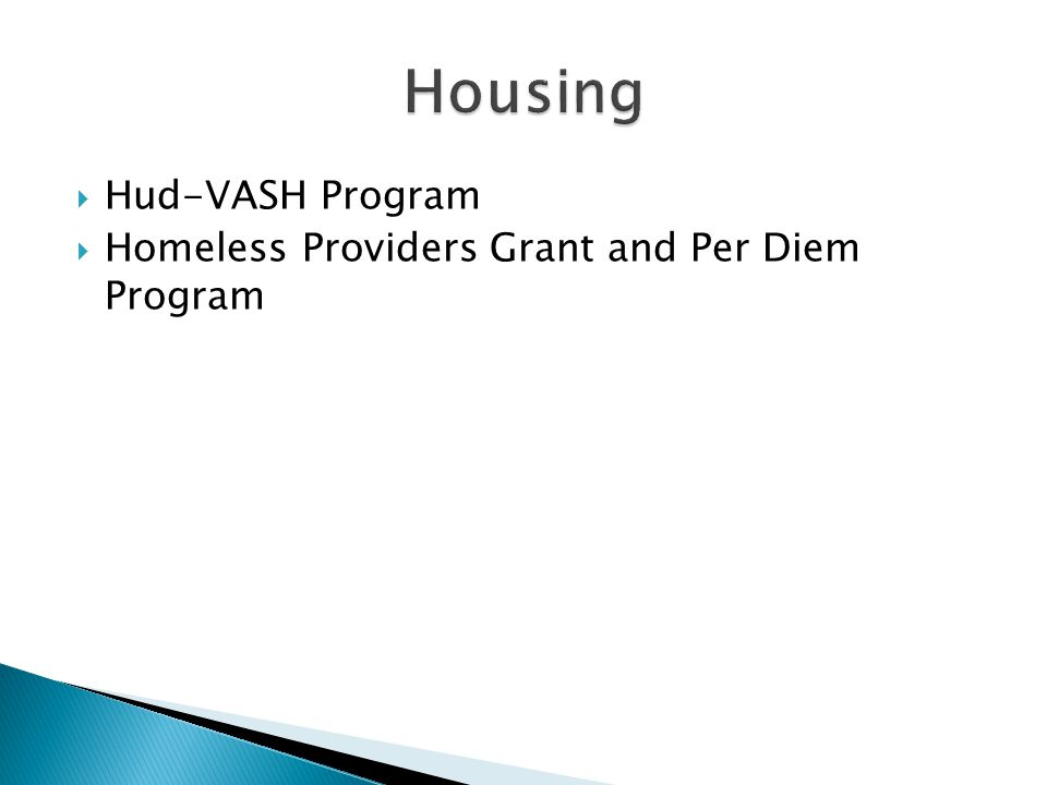 Hud-VASH Program Homeless Providers Grant and Per Diem Program