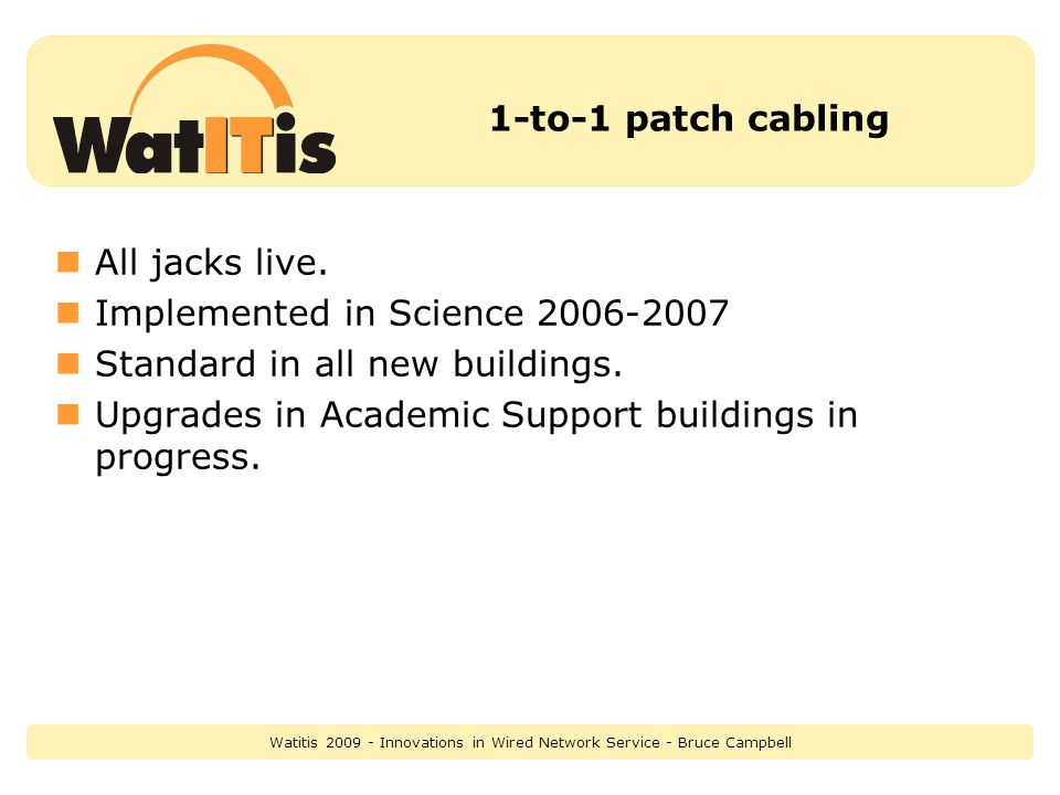 1-to-1 patch cabling All jacks live.