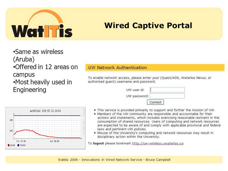 Wired Captive Portal Same as wireless (Aruba) Offered in 12 areas on campus Most heavily used in Engineering Watitis 2009 - Innovations in Wired Network Service - Bruce Campbell