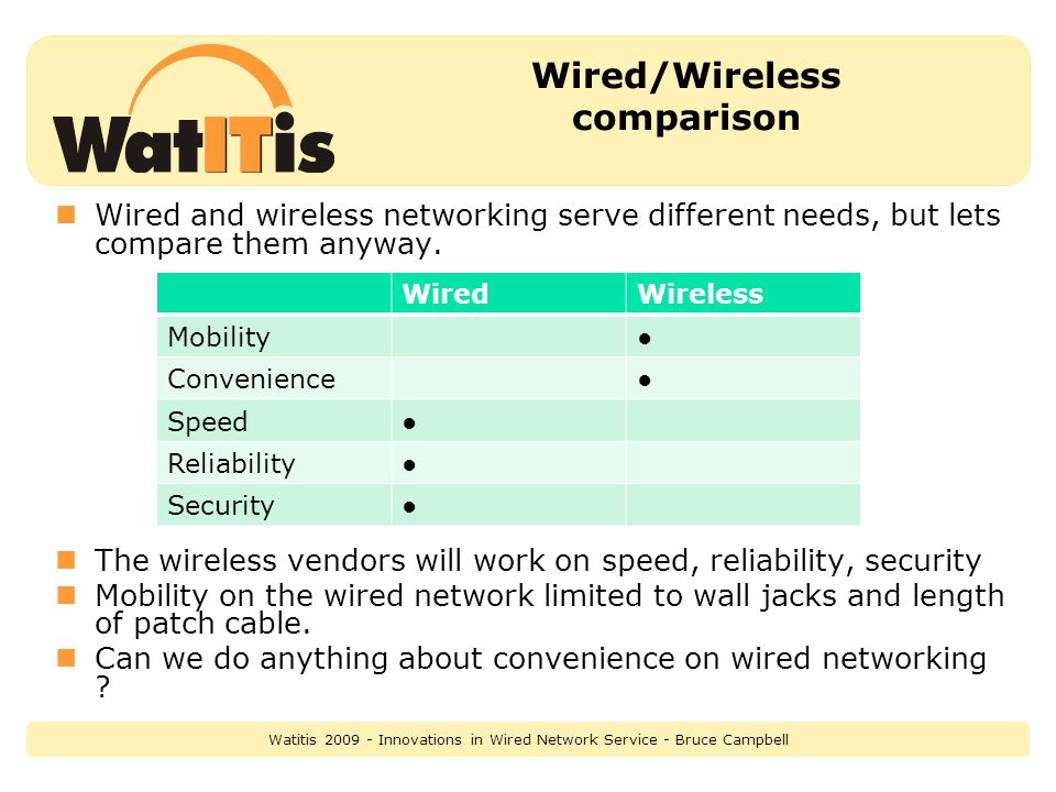 Wired/Wireless comparison Wired and wireless networking serve different needs, but lets compare them anyway.
