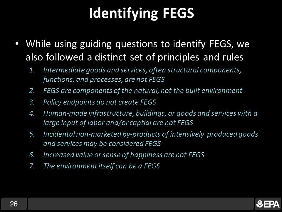 Identifying FEGS While using guiding questions to identify FEGS, we also followed a distinct set of principles and rules 1.Intermediate goods and services, often structural components, functions, and processes, are not FEGS 2.FEGS are components of the natural, not the built environment 3.Policy endpoints do not create FEGS 4.Human-made infrastructure, buildings, or goods and services with a large input of labor and/or captial are not FEGS 5.Incidental non-marketed by-products of intensively produced goods and services may be considered FEGS 6.Increased value or sense of happiness are not FEGS 7.The environment itself can be a FEGS 26