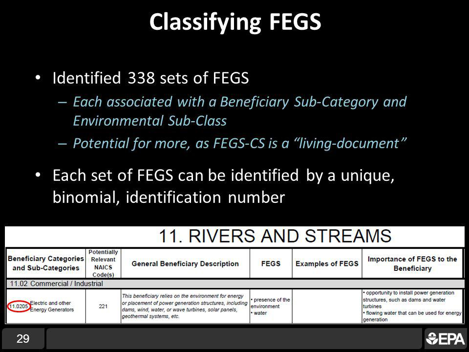 Classifying FEGS Identified 338 sets of FEGS – Each associated with a Beneficiary Sub-Category and Environmental Sub-Class – Potential for more, as FEGS-CS is a living-document Each set of FEGS can be identified by a unique, binomial, identification number 29