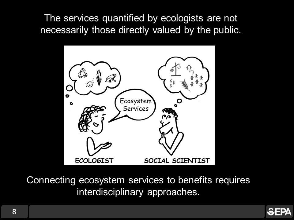 8 Connecting ecosystem services to benefits requires interdisciplinary approaches.