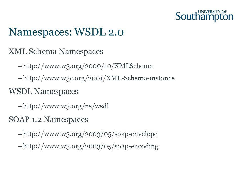 Namespaces: WSDL 2.0 XML Schema Namespaces –http://www.w3.org/2000/10/XMLSchema –http://www.w3c.org/2001/XML-Schema-instance WSDL Namespaces –http://www.w3.org/ns/wsdl SOAP 1.2 Namespaces –http://www.w3.org/2003/05/soap-envelope –http://www.w3.org/2003/05/soap-encoding