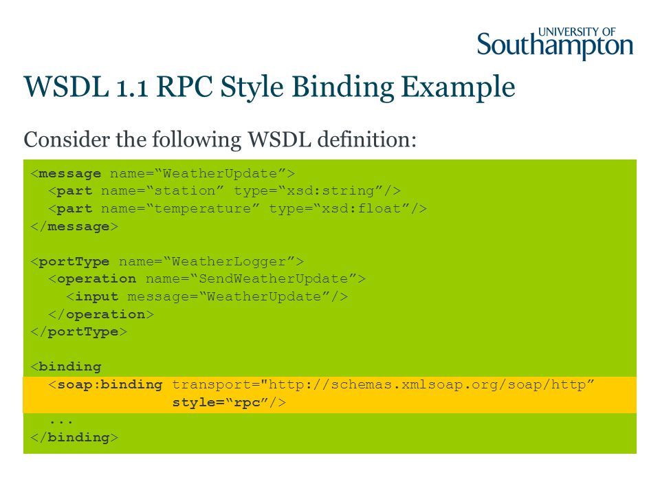 WSDL 1.1 RPC Style Binding Example Consider the following WSDL definition:...