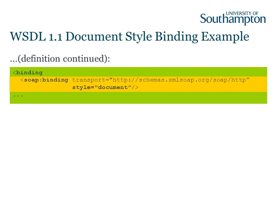 WSDL 1.1 Document Style Binding Example...(definition continued):...