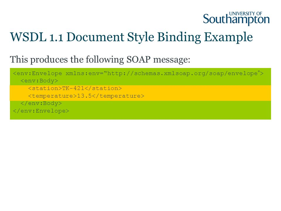 WSDL 1.1 Document Style Binding Example This produces the following SOAP message: TK-421 13.5