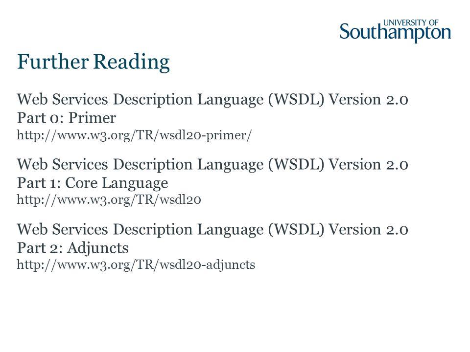 Web Services Description Language (WSDL) Version 2.0 Part 0: Primer http://www.w3.org/TR/wsdl20-primer/ Web Services Description Language (WSDL) Version 2.0 Part 1: Core Language http://www.w3.org/TR/wsdl20 Web Services Description Language (WSDL) Version 2.0 Part 2: Adjuncts http://www.w3.org/TR/wsdl20-adjuncts