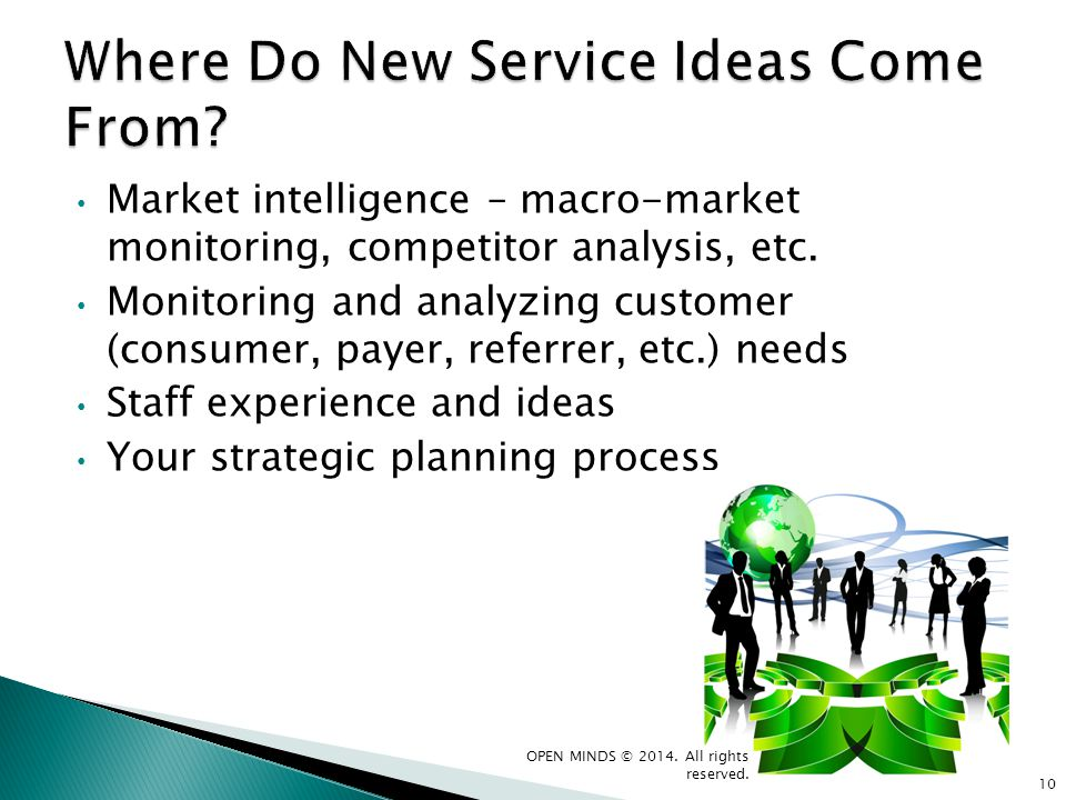 Market intelligence – macro-market monitoring, competitor analysis, etc. Monitoring and analyzing customer (consumer, payer, referrer, etc.) needs Sta
