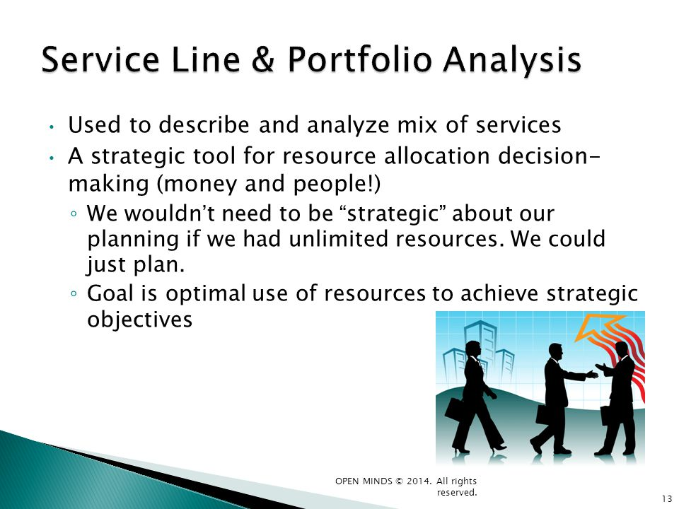 Used to describe and analyze mix of services A strategic tool for resource allocation decision- making (money and people!) We wouldn t need to be stra