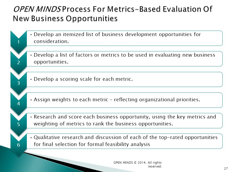 1 Develop an itemized list of business development opportunities for consideration. 2 Develop a list of factors or metrics to be used in evaluating ne