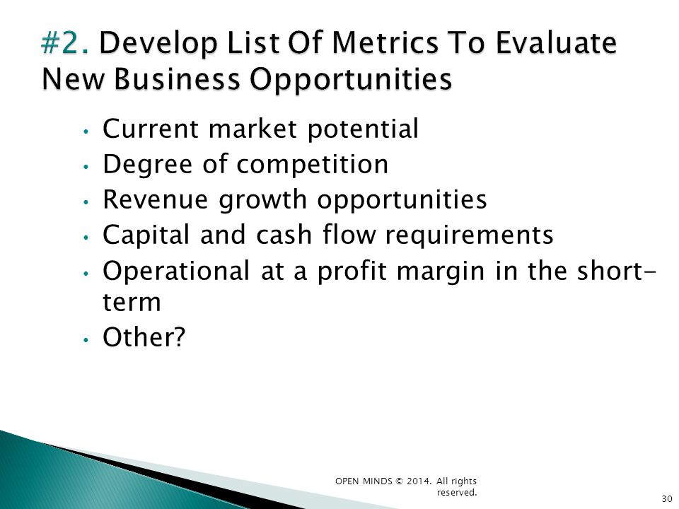 Current market potential Degree of competition Revenue growth opportunities Capital and cash flow requirements Operational at a profit margin in the s