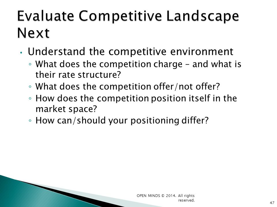 Understand the competitive environment What does the competition charge – and what is their rate structure? What does the competition offer/not offer?