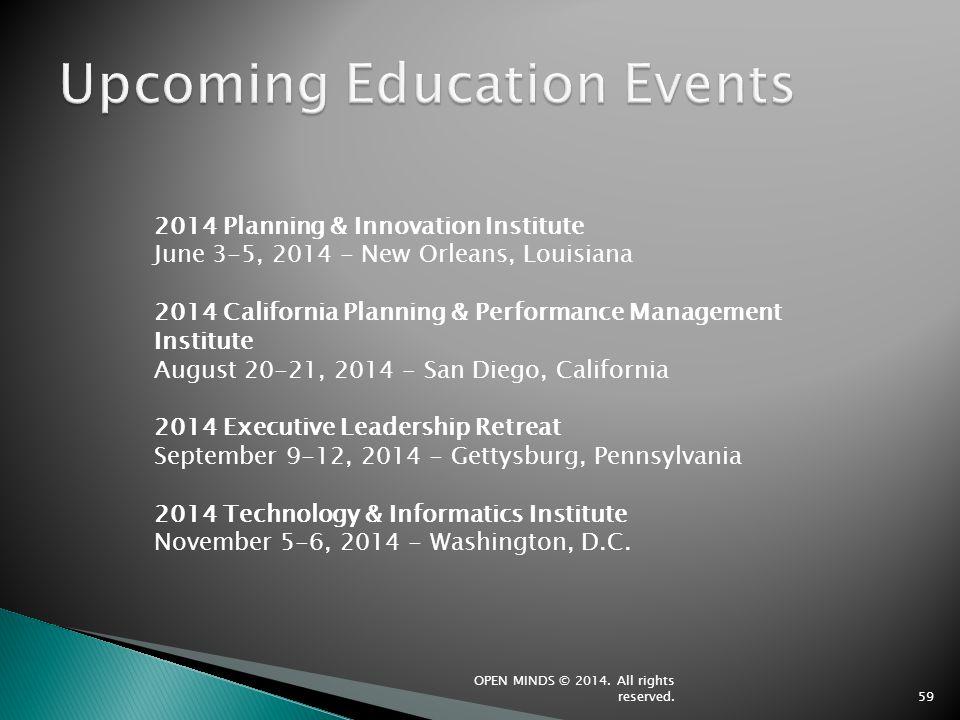 59 2014 Planning & Innovation Institute June 3-5, 2014 - New Orleans, Louisiana 2014 California Planning & Performance Management Institute August 20-