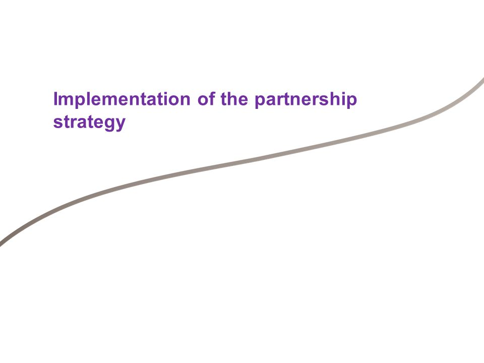 Implementation of the partnership strategy