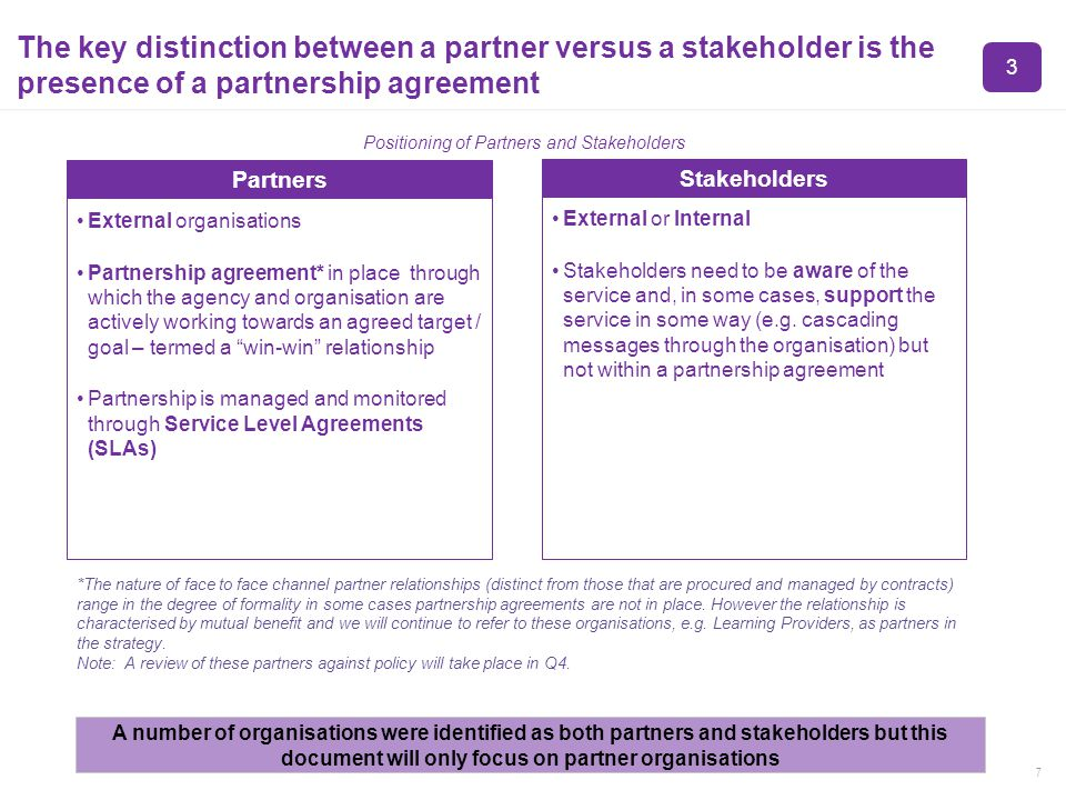 7 The key distinction between a partner versus a stakeholder is the presence of a partnership agreement External organisations Partnership agreement* in place through which the agency and organisation are actively working towards an agreed target / goal – termed a win-win relationship Partnership is managed and monitored through Service Level Agreements (SLAs) Partners External or Internal Stakeholders need to be aware of the service and, in some cases, support the service in some way (e.g.
