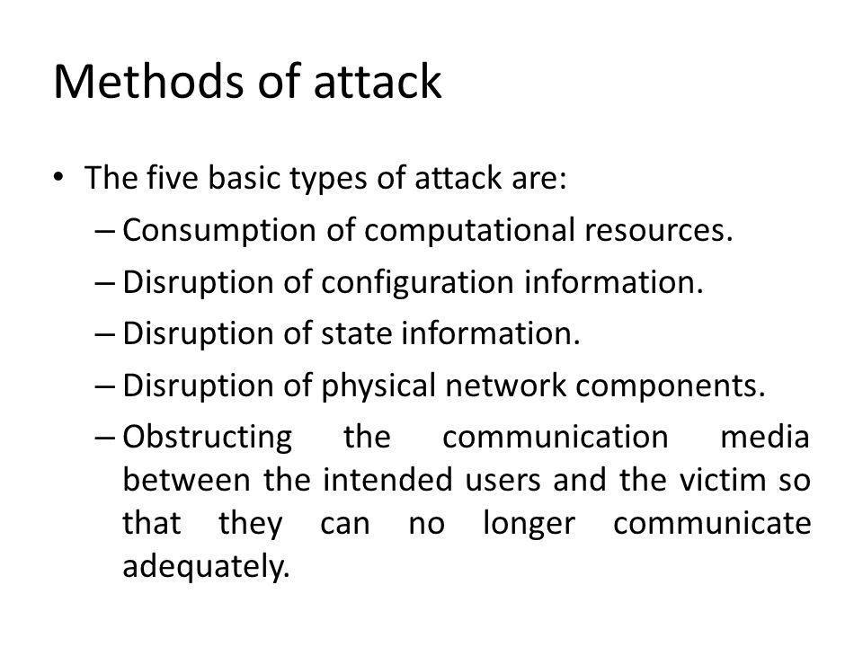 Classification of DoS Attacks AttackAffected AreaExampleDescription Network Level DeviceRouters, IP Switches, FirewallsAscend Kill II, Christmas Tree Packets Attack attempts to exhaust hardware resources using multiple duplicate packets or a software bug.