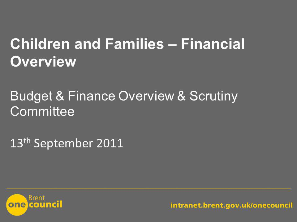 Children and Families – Financial Overview Budget & Finance Overview & Scrutiny Committee 13 th September 2011