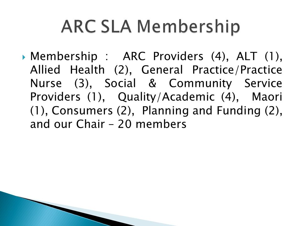 Membership : ARC Providers (4), ALT (1), Allied Health (2), General Practice/Practice Nurse (3), Social & Community Service Providers (1), Quality/Academic (4), Maori (1), Consumers (2), Planning and Funding (2), and our Chair – 20 members