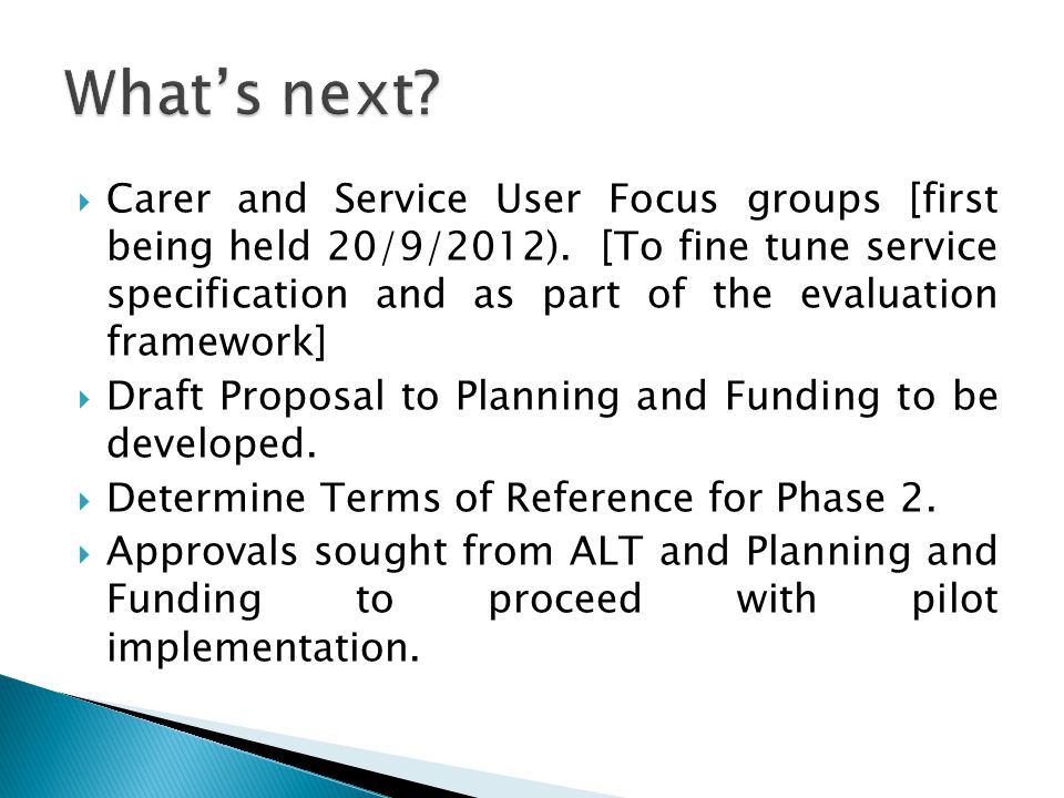 Carer and Service User Focus groups [first being held 20/9/2012).