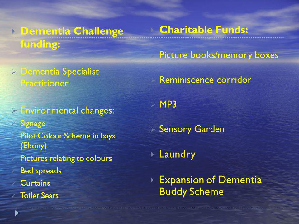 Future Plans Dementia Challenge funding: Dementia Specialist Practitioner Environmental changes: Signage Pilot Colour Scheme in bays (Ebony) Pictures relating to colours Bed spreads Curtains Toilet Seats Charitable Funds: Picture books/memory boxes Reminiscence corridor MP3 Sensory Garden Laundry Expansion of Dementia Buddy Scheme