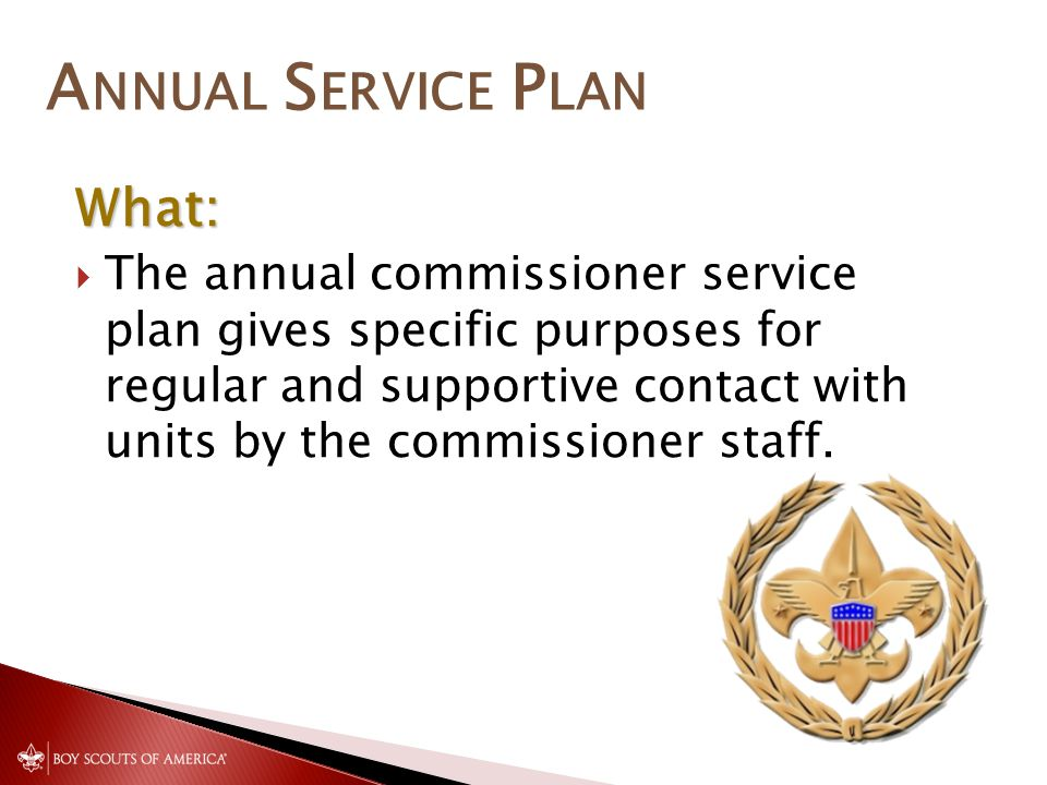A NNUAL S ERVICE P LAN What: The annual commissioner service plan gives specific purposes for regular and supportive contact with units by the commissioner staff.