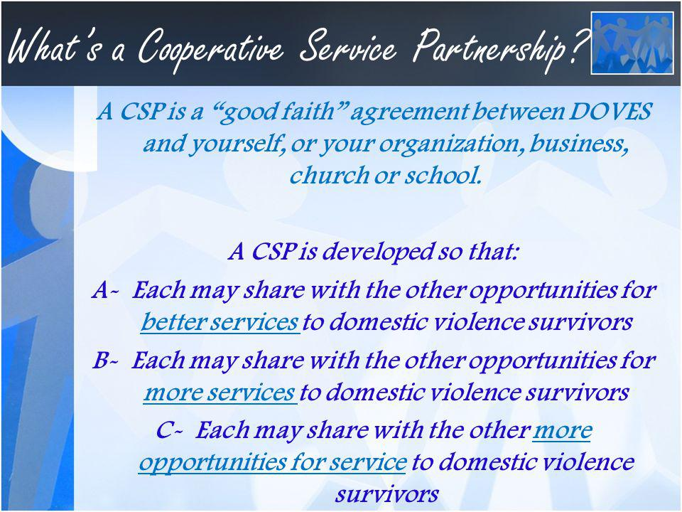Whats a Cooperative Service Partnership.