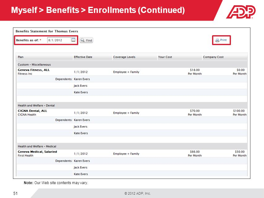 © 2012 ADP, Inc. 51 Myself > Benefits > Enrollments (Continued) Note: Our Web site contents may vary.