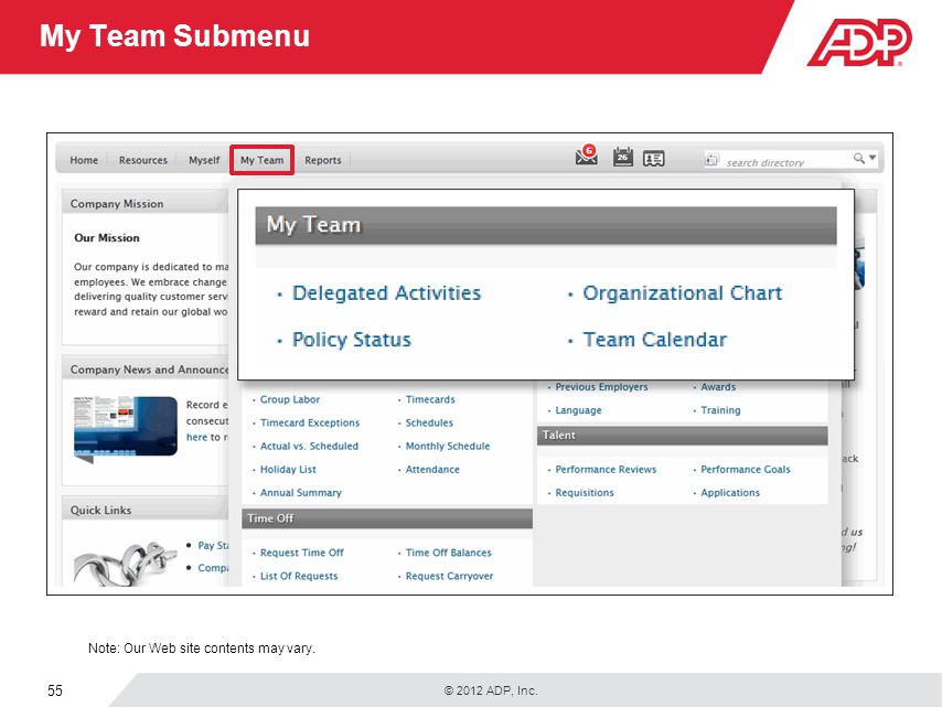 © 2012 ADP, Inc. 55 My Team Submenu Note: Our Web site contents may vary.